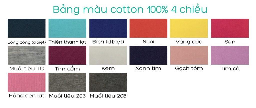 Bảng màu Cotton 100%